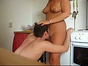 Amateur oral cunnilingus and sex from behind over kitchen work top
