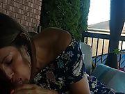 Hot latina neighbour sucking and swallowing