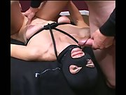 Black Mask Facial for skinny mature after being fucked