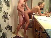 Flighty blonde banged in the bathroom