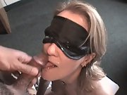 Blindfold BJ and facial making her lick knob clean of spunk